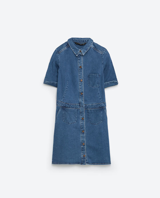 Mini Denim Dress - style: shirt; length: mini; neckline: shirt collar/peter pan/zip with opening; pattern: plain; predominant colour: denim; occasions: casual; fit: body skimming; fibres: cotton - stretch; sleeve length: short sleeve; sleeve style: standard; texture group: denim; pattern type: fabric; season: s/s 2016