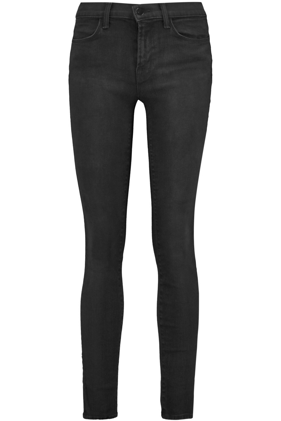 Mid Rise Skinny Jeans Charcoal - style: skinny leg; length: standard; pattern: plain; waist: mid/regular rise; predominant colour: black; occasions: casual; fibres: cotton - stretch; jeans detail: dark wash; texture group: denim; pattern type: fabric; season: s/s 2016; wardrobe: basic