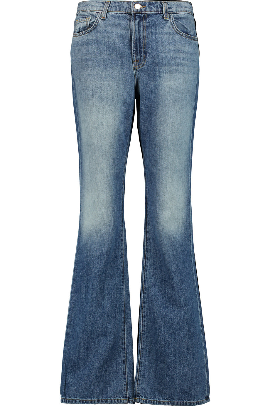 Sabine High Rise Flared Jeans Mid Denim - style: flares; length: standard; pattern: plain; pocket detail: traditional 5 pocket; waist: mid/regular rise; predominant colour: denim; occasions: casual; fibres: cotton - stretch; jeans detail: whiskering, washed/faded; texture group: denim; pattern type: fabric; season: s/s 2016; wardrobe: basic
