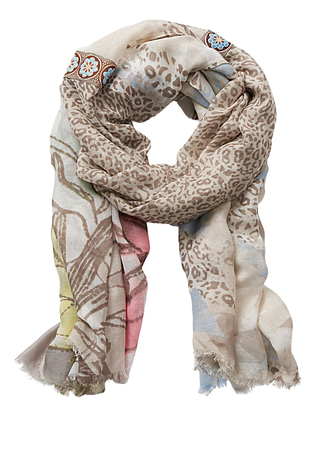 Multi Print Scarf, Cream - predominant colour: ivory/cream; secondary colour: stone; occasions: casual, creative work; type of pattern: heavy; style: regular; size: standard; material: fabric; pattern: patterned/print; season: s/s 2016; wardrobe: highlight