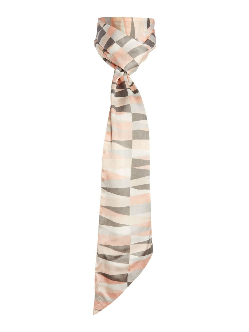 Irregular Stripe Print Skinny Scarf, Grey - predominant colour: nude; secondary colour: mid grey; occasions: evening; type of pattern: standard; style: skinny; size: standard; material: silk; pattern: patterned/print; multicoloured: multicoloured; season: s/s 2016; wardrobe: event