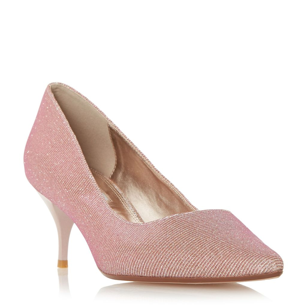 Allera Pointed Toe Mid Heel Court Shoes, Pink - predominant colour: blush; occasions: evening; material: leather; heel height: mid; heel: stiletto; toe: pointed toe; style: courts; finish: metallic; pattern: plain; season: s/s 2016; wardrobe: event