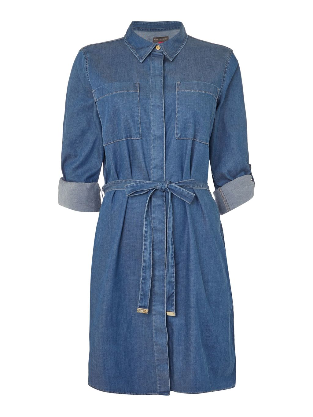 Belted Denim Dress, Denim - style: shirt; length: mid thigh; neckline: shirt collar/peter pan/zip with opening; pattern: plain; waist detail: belted waist/tie at waist/drawstring; predominant colour: navy; occasions: casual; fit: body skimming; fibres: cotton - stretch; sleeve length: 3/4 length; sleeve style: standard; texture group: denim; pattern type: fabric; season: s/s 2016; wardrobe: basic