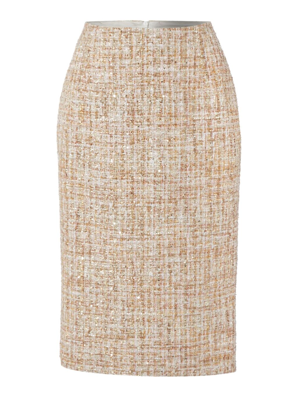 Edie Luxe Tweed Mix Skirt, Pink - style: pencil; fit: tailored/fitted; waist: high rise; pattern: herringbone/tweed; predominant colour: nude; occasions: work, creative work; length: on the knee; fibres: polyester/polyamide - 100%; pattern type: fabric; texture group: woven light midweight; season: s/s 2016; wardrobe: highlight