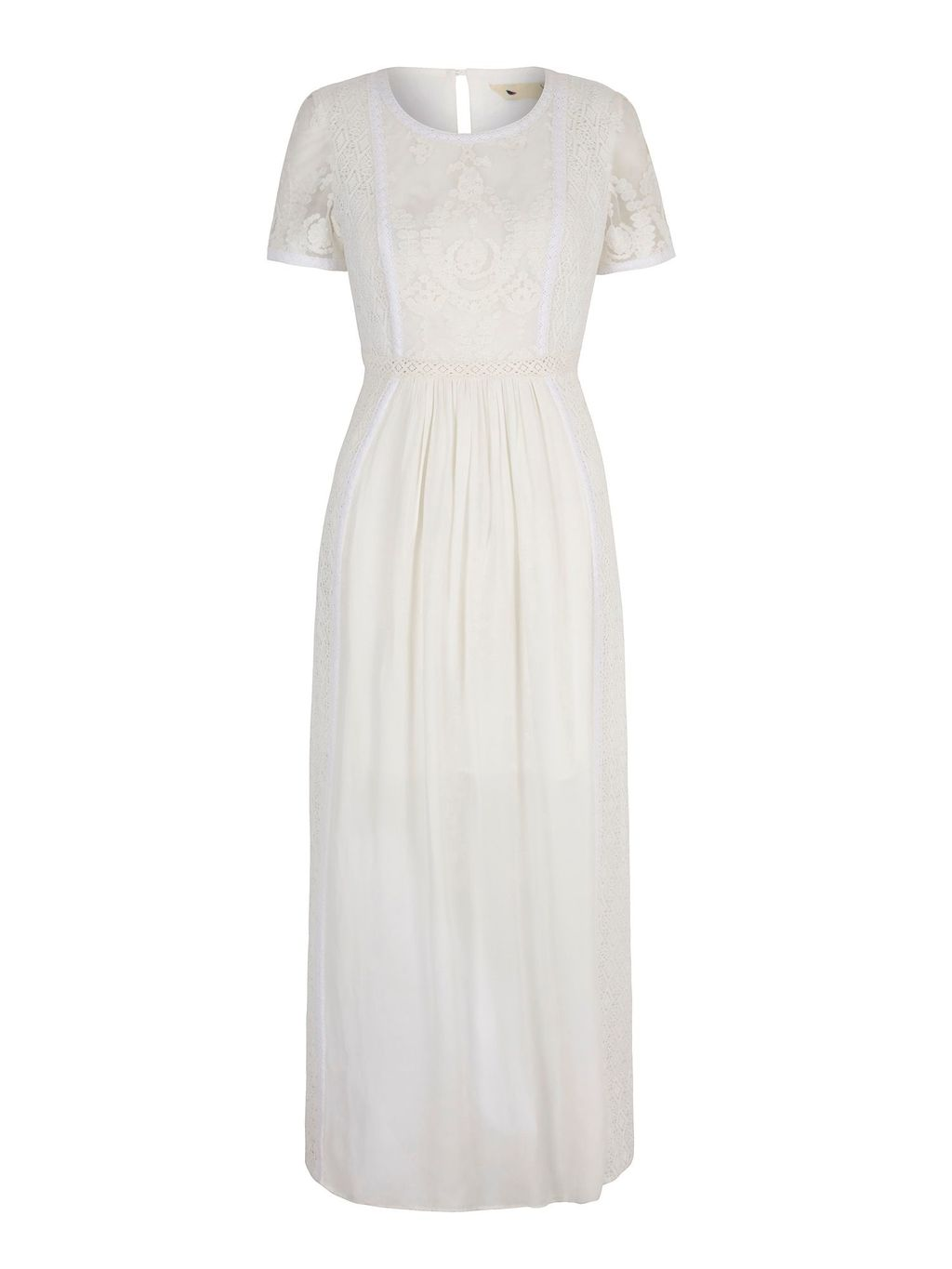 Lace Maxi Dress, Ivory - pattern: plain; style: maxi dress; predominant colour: white; occasions: evening; length: floor length; fit: body skimming; fibres: polyester/polyamide - stretch; neckline: crew; sleeve length: short sleeve; sleeve style: standard; texture group: lace; pattern type: fabric; pattern size: standard; season: s/s 2016; wardrobe: event