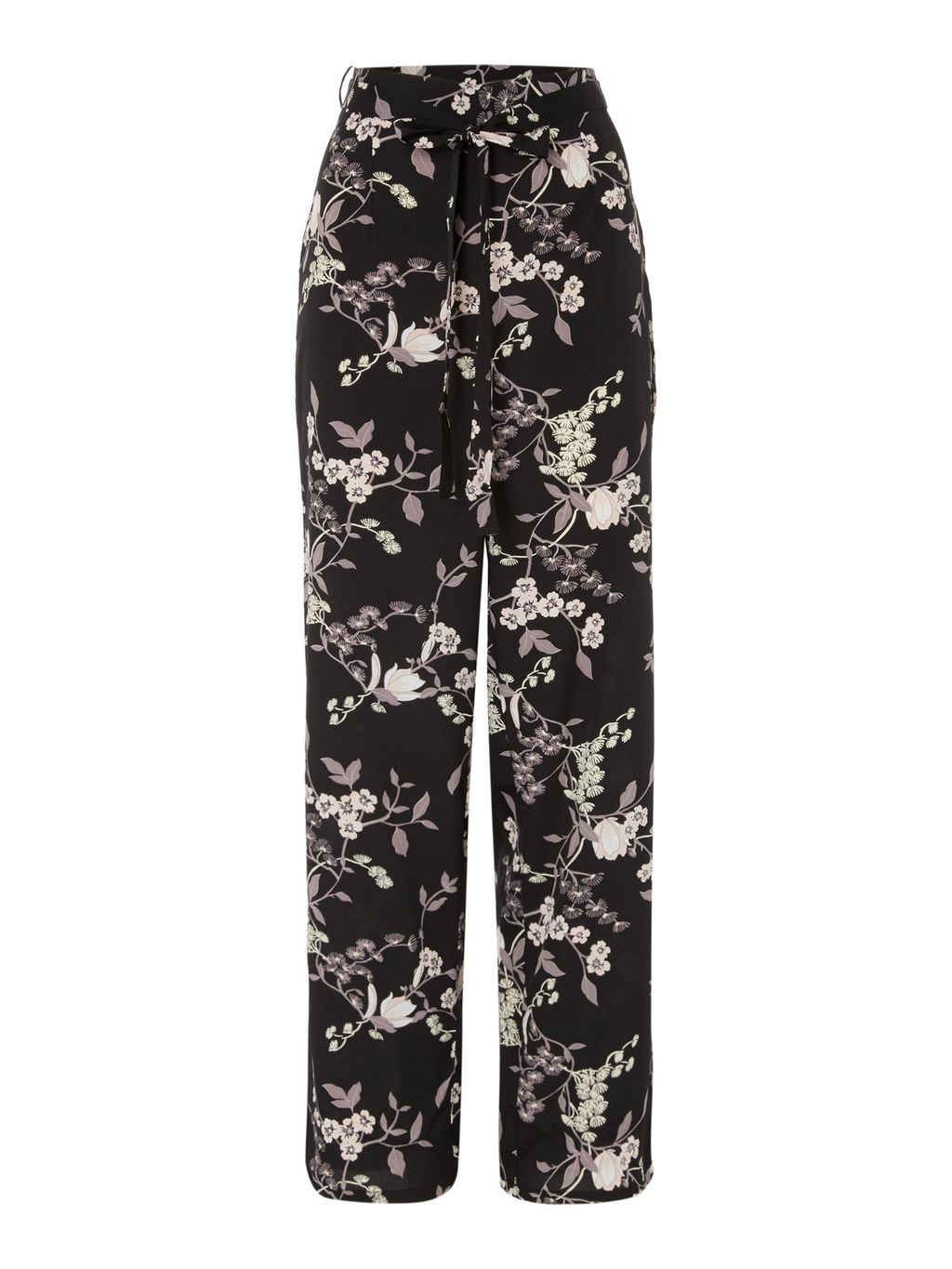Ori Floral Trousers, Black - length: standard; waist: mid/regular rise; secondary colour: white; predominant colour: black; occasions: casual; fibres: polyester/polyamide - 100%; fit: wide leg; pattern type: fabric; pattern: florals; texture group: woven light midweight; style: standard; multicoloured: multicoloured; season: s/s 2016; wardrobe: highlight