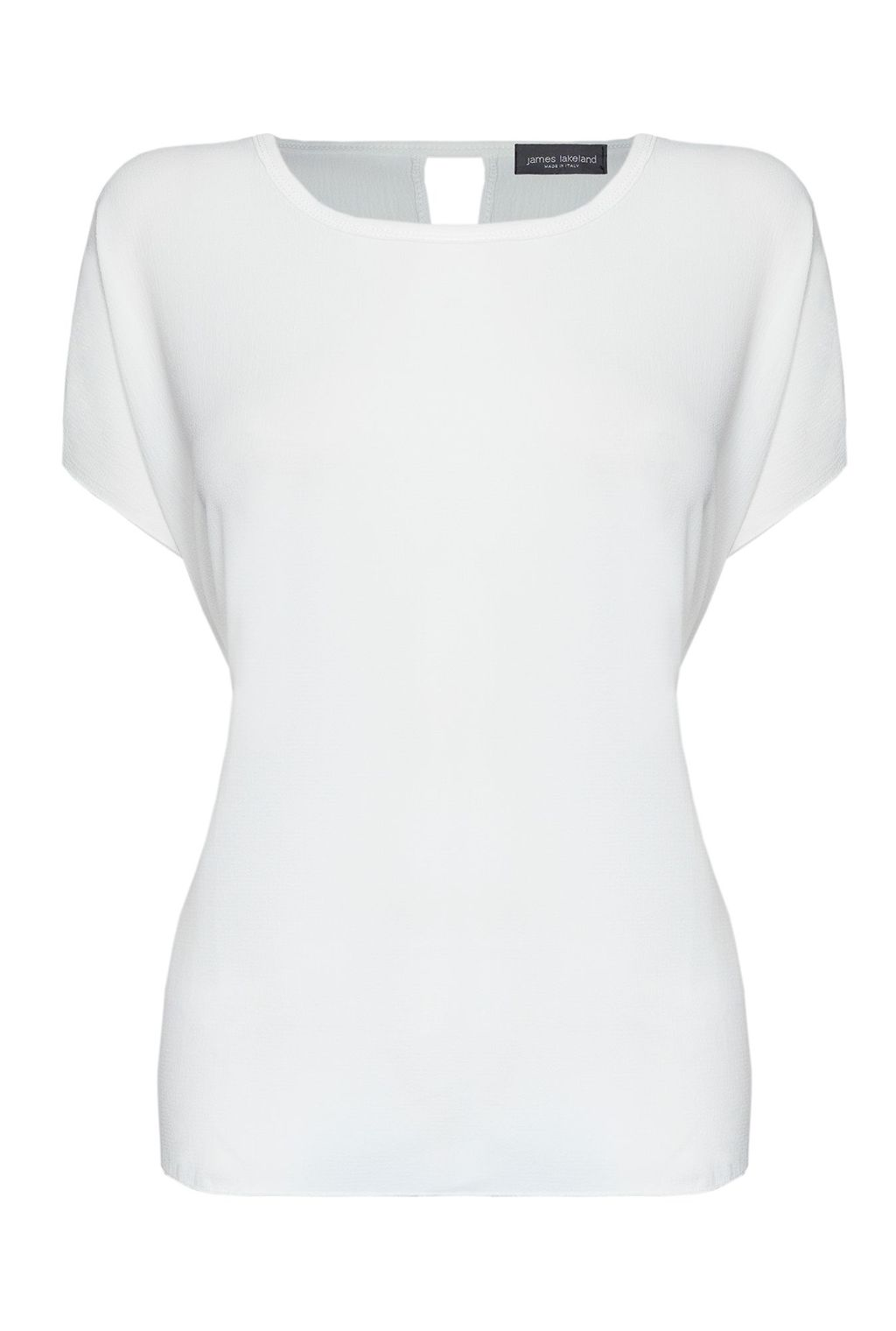 Crepe Top With Split Back, Cream - pattern: plain; predominant colour: ivory/cream; occasions: casual; length: standard; style: top; fibres: polyester/polyamide - stretch; fit: body skimming; neckline: crew; sleeve length: short sleeve; sleeve style: standard; pattern type: fabric; texture group: jersey - stretchy/drapey; season: s/s 2016