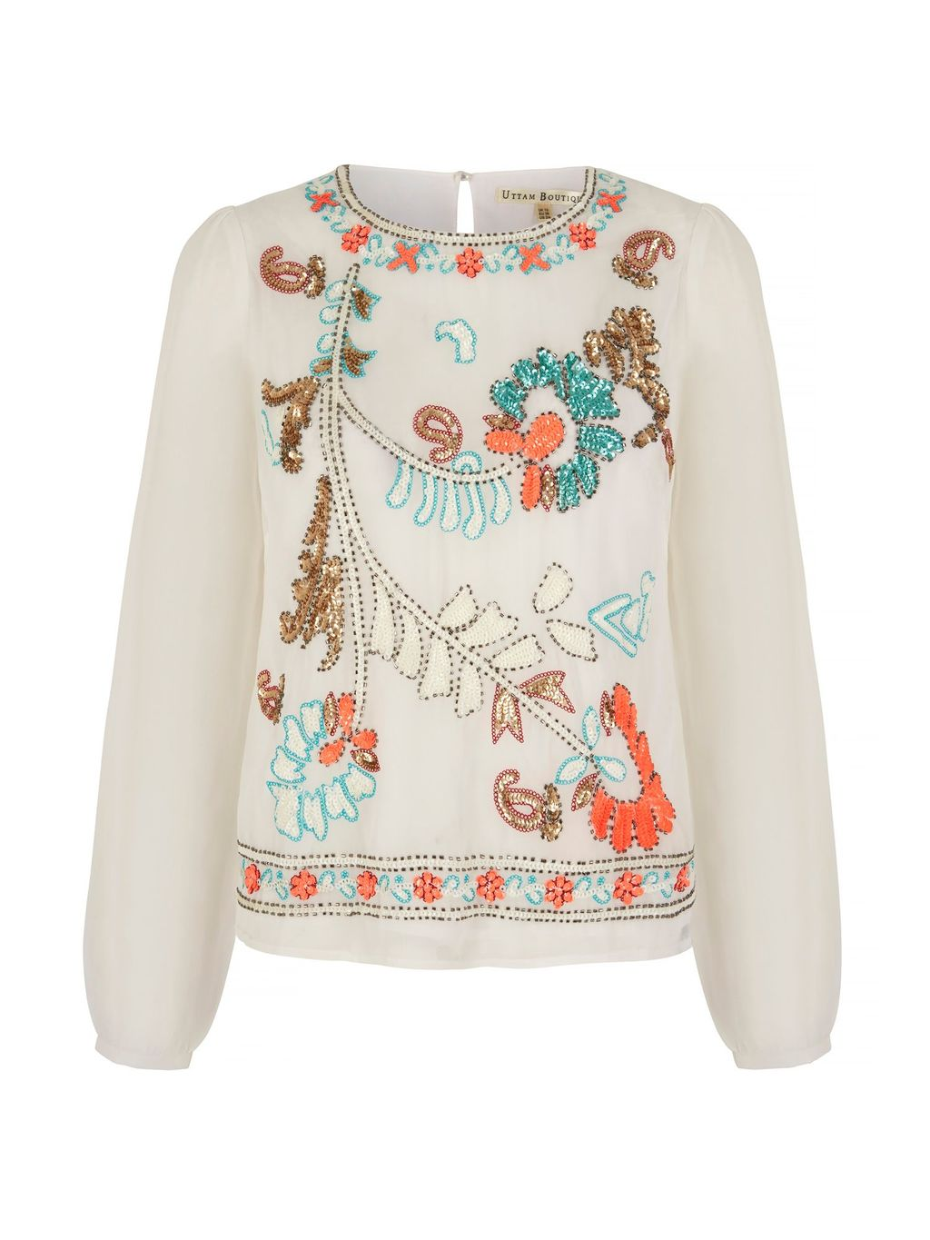 Embellished Long Sleeve Tunic Top, Cream - predominant colour: ivory/cream; secondary colour: bright orange; occasions: evening; length: standard; style: top; fibres: polyester/polyamide - 100%; fit: body skimming; neckline: crew; sleeve length: long sleeve; sleeve style: standard; pattern type: fabric; pattern: patterned/print; texture group: other - light to midweight; embellishment: embroidered; multicoloured: multicoloured; season: s/s 2016