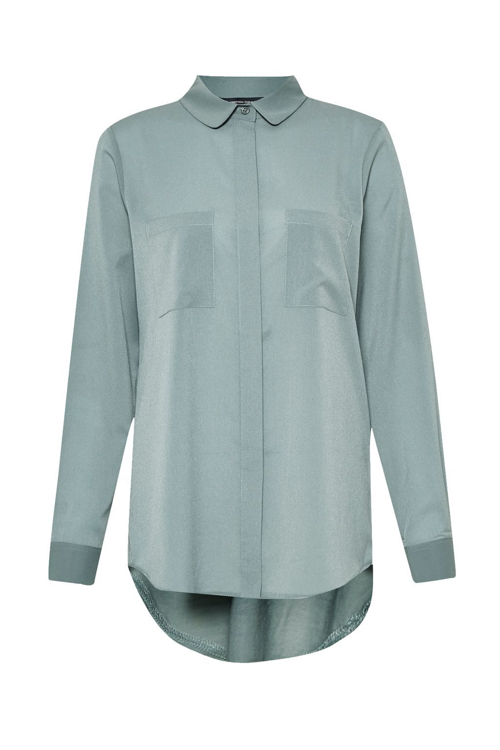 Polly Plains Shirt, Grey - neckline: shirt collar/peter pan/zip with opening; pattern: plain; length: below the bottom; style: shirt; predominant colour: light grey; occasions: casual; fibres: polyester/polyamide - 100%; fit: body skimming; sleeve length: long sleeve; sleeve style: standard; pattern type: fabric; texture group: other - light to midweight; season: s/s 2016; wardrobe: basic