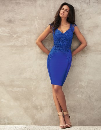Love Michelle Keegan Applique Bodycon Dress - neckline: v-neck; fit: tight; pattern: plain; sleeve style: sleeveless; style: bodycon; hip detail: draws attention to hips; predominant colour: royal blue; occasions: evening; length: just above the knee; fibres: polyester/polyamide - stretch; sleeve length: sleeveless; texture group: jersey - clingy; pattern type: fabric; embellishment: lace; season: s/s 2016; wardrobe: event; embellishment location: top