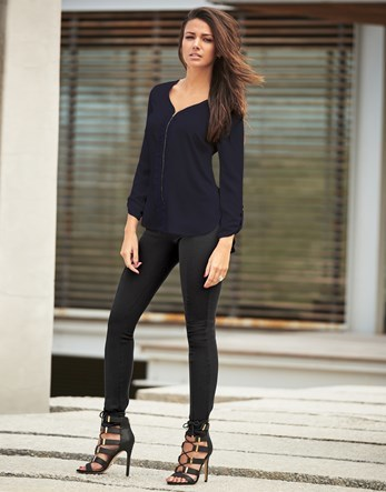 Love Michelle Keegan Zip Ruffle Blouse - neckline: v-neck; pattern: plain; style: shirt; predominant colour: black; occasions: casual; length: standard; fibres: polyester/polyamide - 100%; fit: body skimming; sleeve length: long sleeve; sleeve style: standard; pattern type: fabric; texture group: other - light to midweight; season: s/s 2016; wardrobe: basic