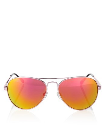 Mirror Aviator Sunglasses - secondary colour: pink; predominant colour: silver; style: aviator; size: standard; material: chain/metal; pattern: plain; occasions: holiday; finish: metallic; season: s/s 2016