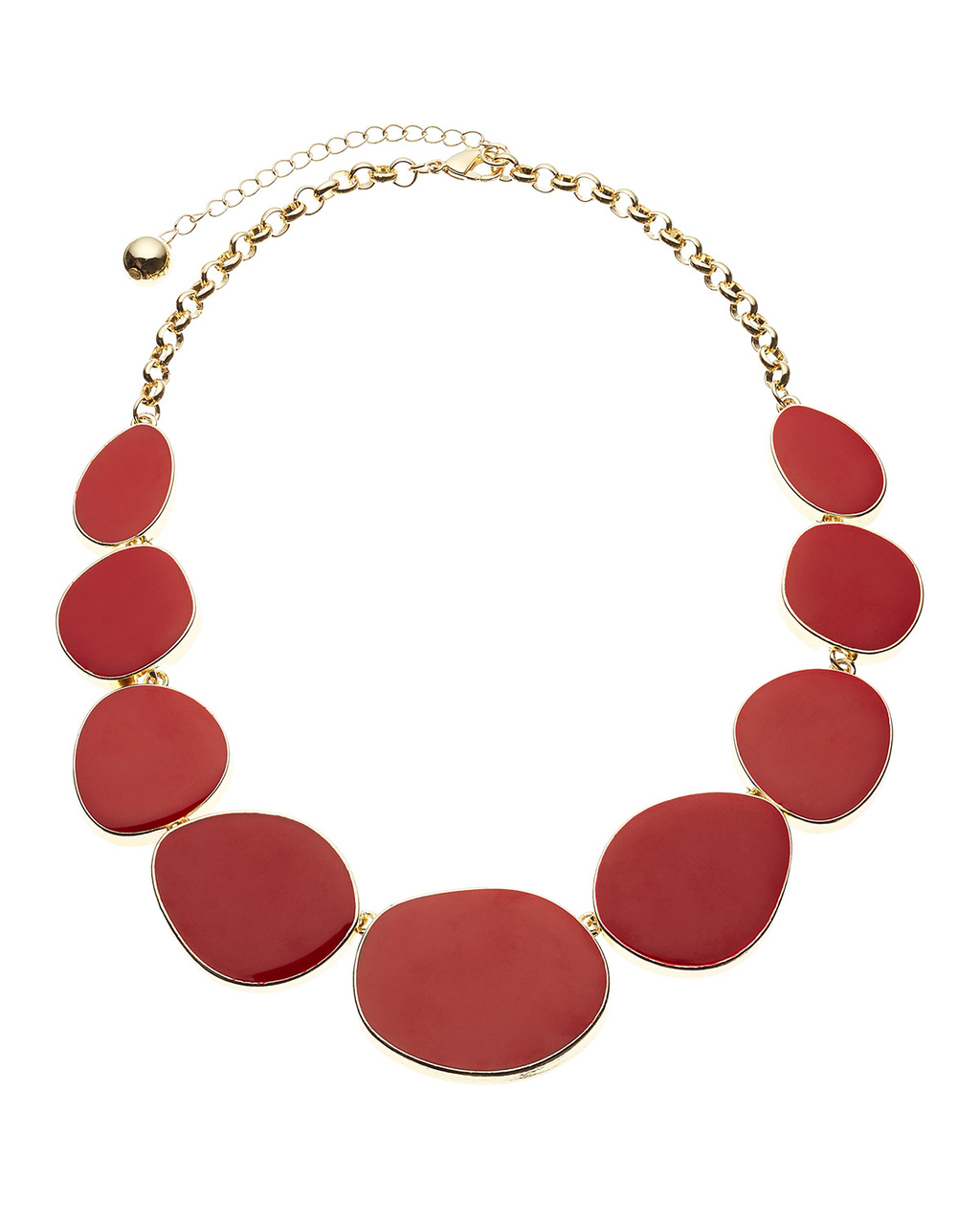 Valentina Necklace - predominant colour: true red; secondary colour: gold; occasions: evening; style: choker/collar/torque; length: short; size: standard; material: plastic/rubber; finish: plain; embellishment: beading; season: s/s 2016