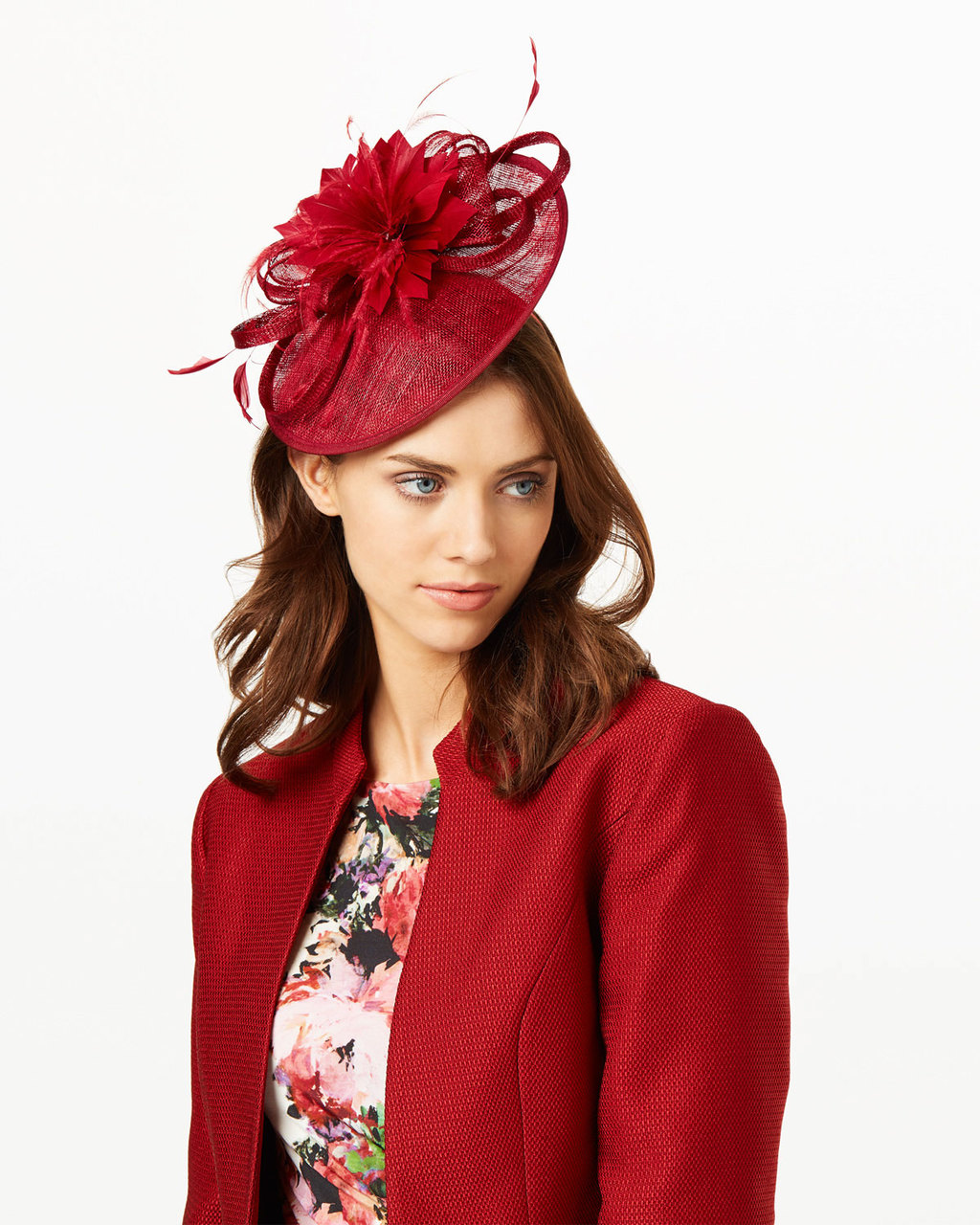 Zoe Disc - predominant colour: true red; occasions: occasion; type of pattern: standard; style: fascinator; size: standard; material: macrame/raffia/straw; pattern: plain; embellishment: feather; season: s/s 2016; wardrobe: event