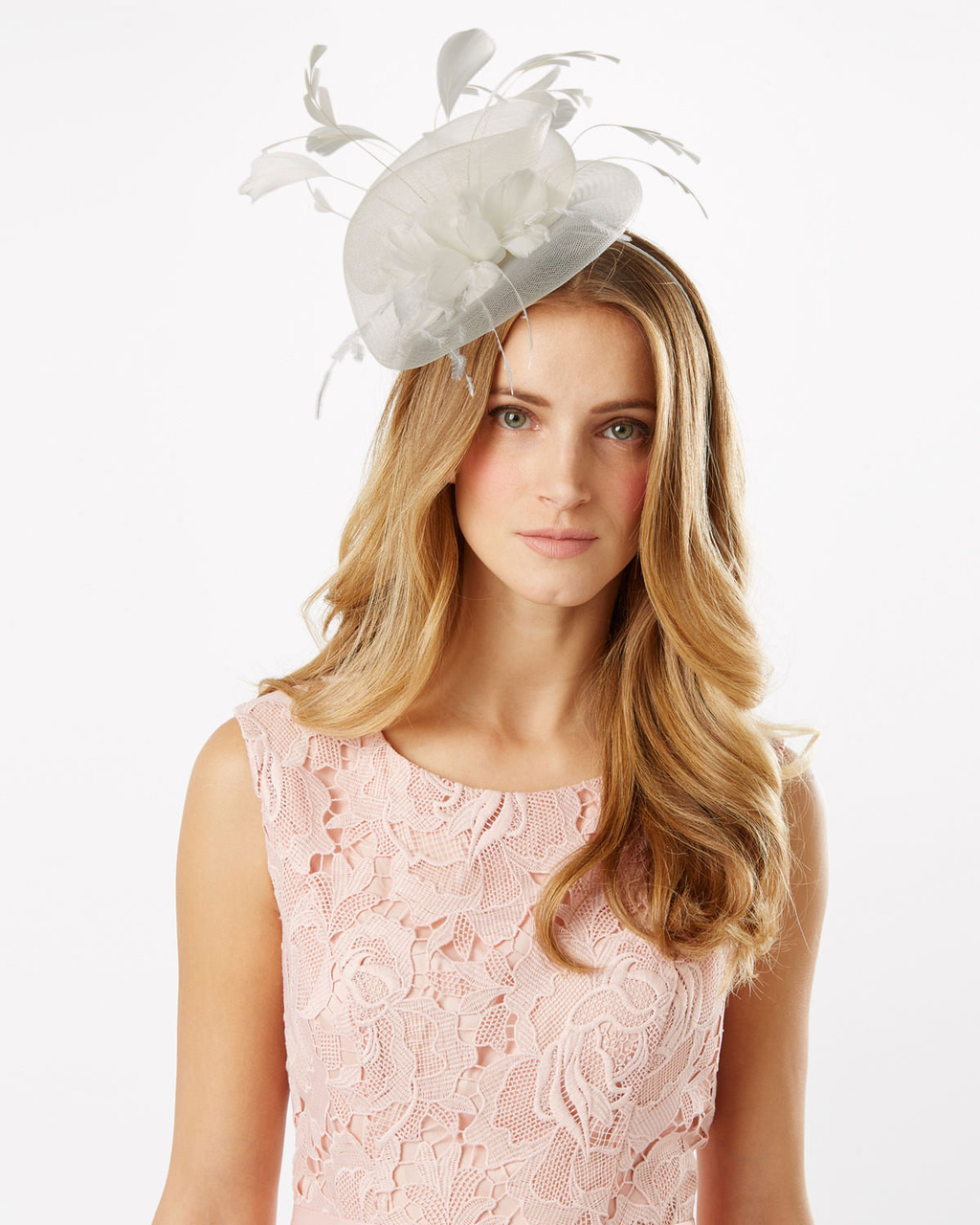 Rose Fascinator - predominant colour: ivory/cream; occasions: occasion; type of pattern: standard; embellishment: feathers; style: fascinator; size: large; material: sinamay; pattern: plain; season: s/s 2016; wardrobe: event