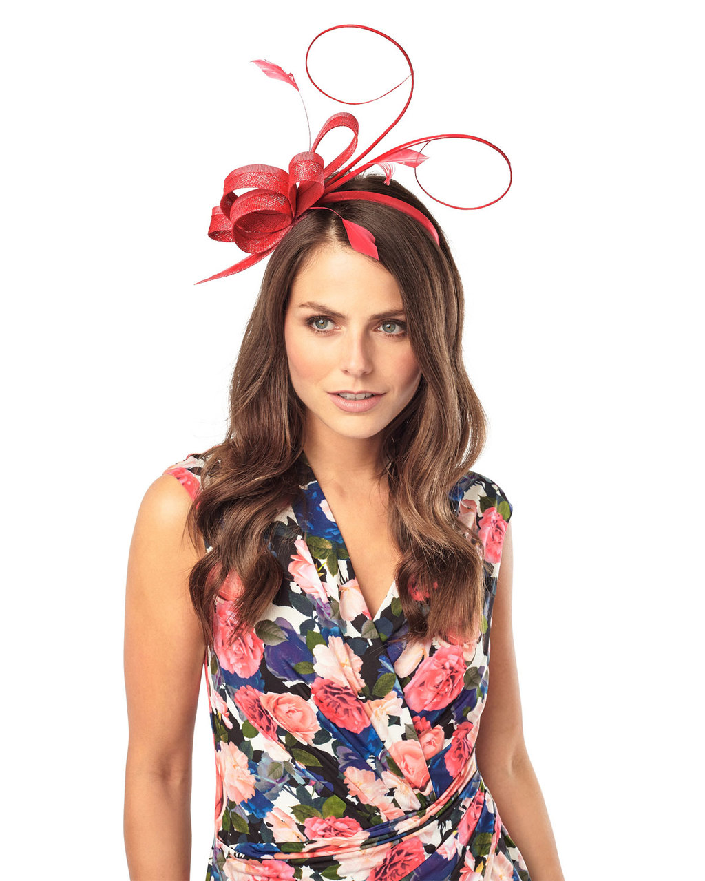 Ivy Fascinator - predominant colour: true red; occasions: occasion; type of pattern: standard; embellishment: feathers; style: fascinator; size: large; material: macrame/raffia/straw; pattern: plain; season: s/s 2016; wardrobe: event