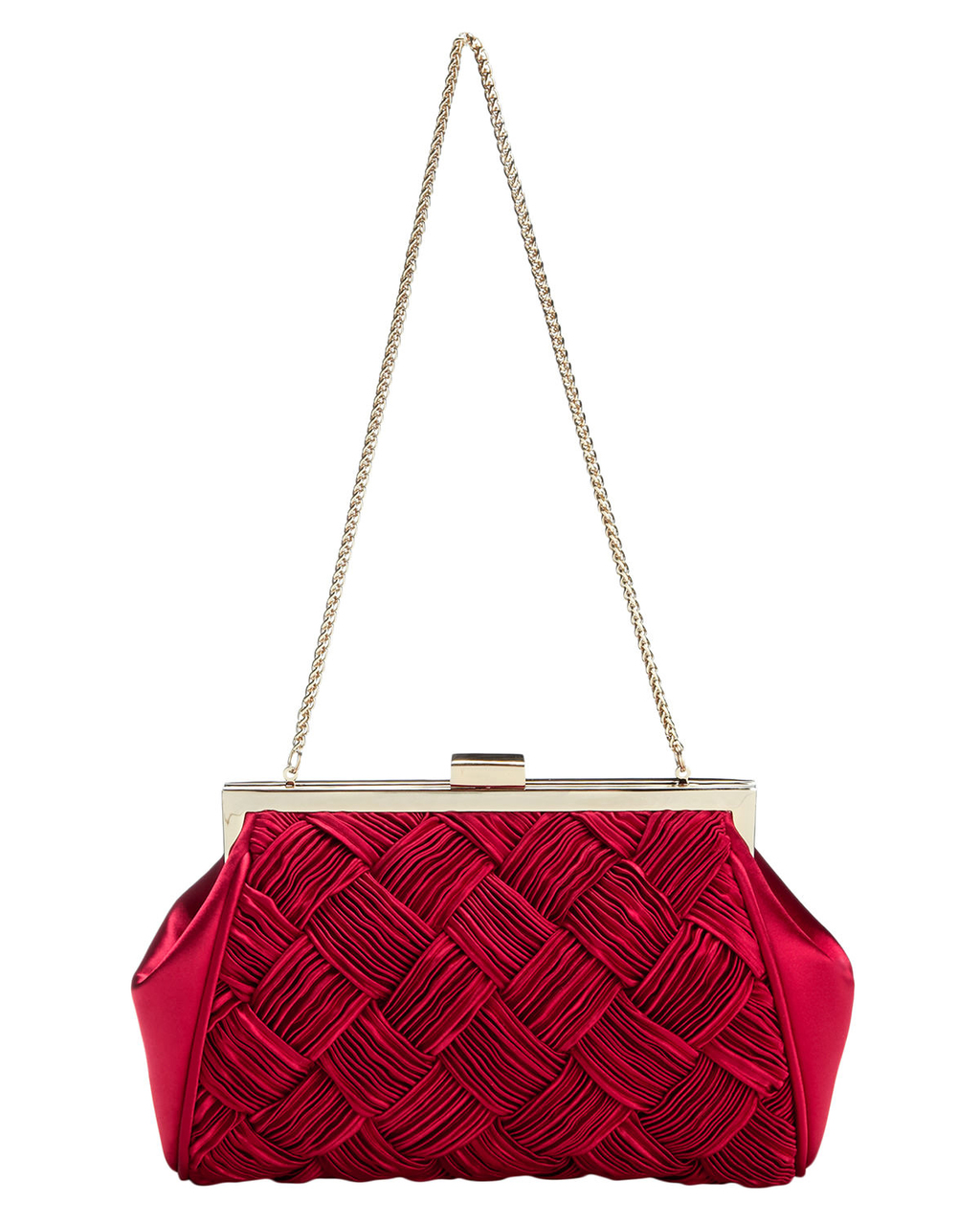 Alexie Pleated Satin Bag - predominant colour: true red; secondary colour: gold; occasions: evening, occasion; type of pattern: standard; style: clutch; length: shoulder (tucks under arm); size: small; material: satin; embellishment: pleated; pattern: plain; finish: plain; season: s/s 2016; wardrobe: event