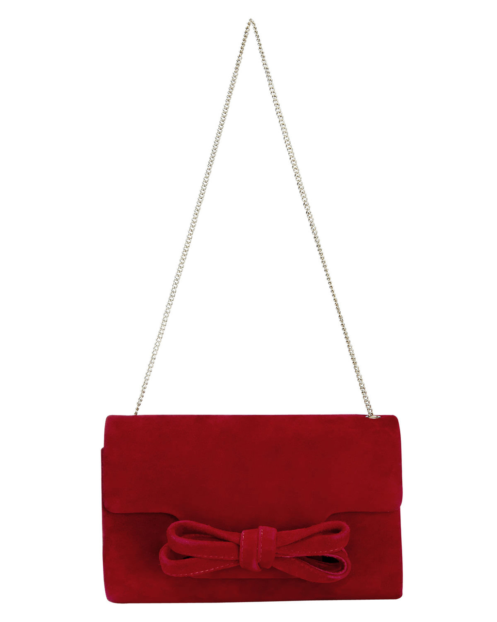 Elena Suede Bow Clutch Bag - predominant colour: burgundy; occasions: evening, occasion; type of pattern: standard; style: clutch; length: handle; size: standard; material: suede; pattern: plain; finish: plain; embellishment: bow; season: s/s 2016
