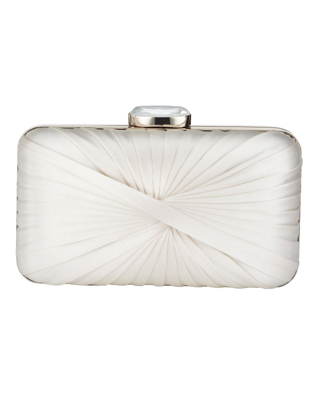 Millie Twist Satin Clutch - predominant colour: white; secondary colour: silver; occasions: evening, occasion; type of pattern: standard; style: clutch; length: hand carry; size: mini; material: satin; pattern: plain; finish: plain; season: s/s 2016; wardrobe: event