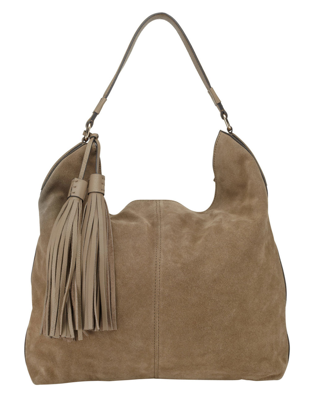 Harper Suede Hobo Bag - predominant colour: taupe; occasions: casual, creative work; type of pattern: standard; length: handle; size: standard; material: suede; embellishment: tassels; pattern: plain; finish: plain; style: hobo; season: s/s 2016; wardrobe: investment