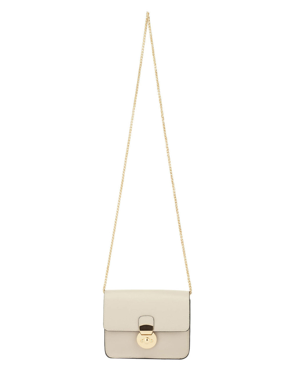 Marcie Crossbody Bag - predominant colour: ivory/cream; secondary colour: gold; occasions: casual, creative work; type of pattern: standard; style: messenger; length: across body/long; size: small; material: faux leather; pattern: plain; finish: plain; embellishment: chain/metal; season: s/s 2016; wardrobe: highlight