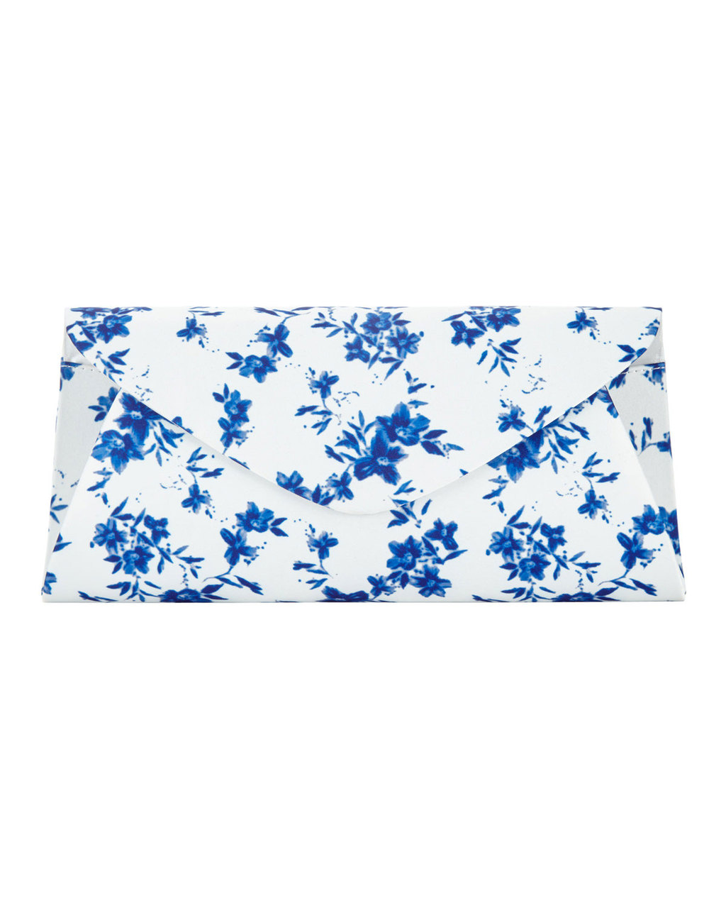 Flower Print Clutch - secondary colour: white; predominant colour: diva blue; occasions: evening, occasion; type of pattern: heavy; style: clutch; length: hand carry; size: standard; material: fabric; pattern: florals; finish: plain; season: s/s 2016; wardrobe: event