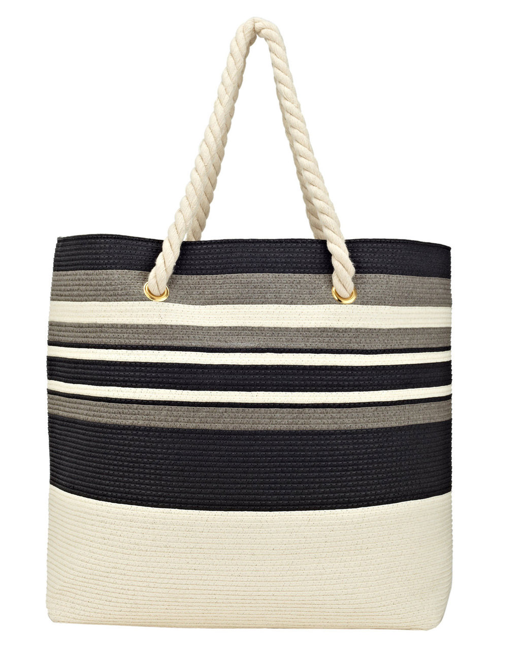 Sally Stripe Bag - secondary colour: ivory/cream; predominant colour: black; occasions: casual, holiday; type of pattern: heavy; style: tote; length: shoulder (tucks under arm); size: oversized; material: fabric; pattern: striped; finish: plain; season: s/s 2016; wardrobe: highlight