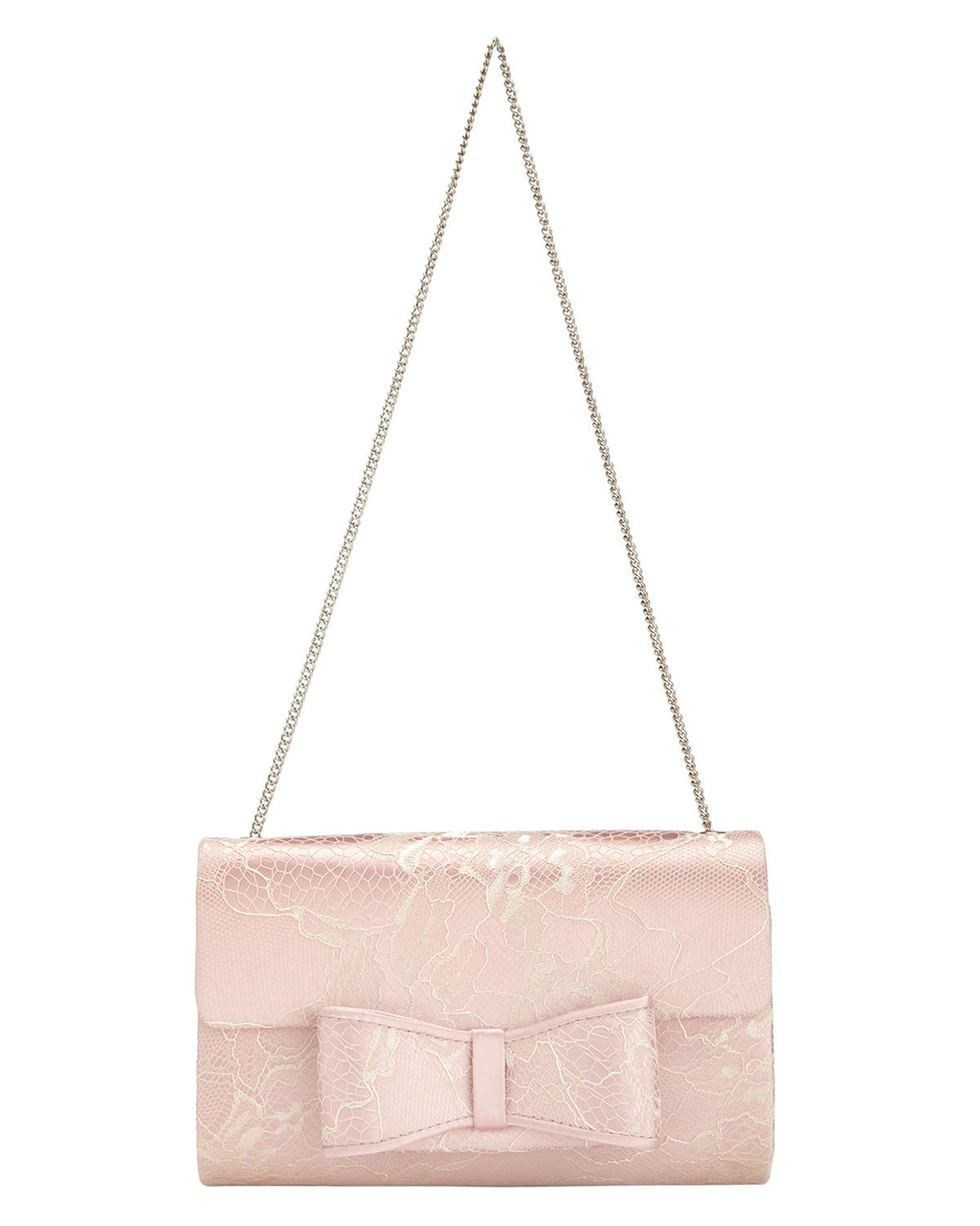 Poppy Lace Bow Clutch - predominant colour: blush; occasions: evening, occasion; type of pattern: standard; style: clutch; length: hand carry; size: small; material: fabric; pattern: plain; finish: plain; embellishment: lace; season: s/s 2016; wardrobe: event