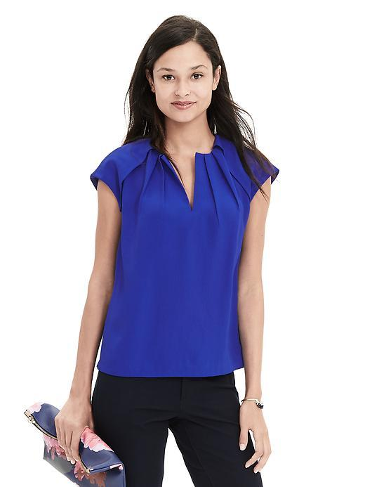 Pleated Crepe Blouse Neon Cobalt - sleeve style: capped; pattern: plain; style: blouse; bust detail: ruching/gathering/draping/layers/pintuck pleats at bust; predominant colour: royal blue; occasions: work; length: standard; neckline: collarstand & mandarin with v-neck; fibres: polyester/polyamide - 100%; fit: body skimming; sleeve length: short sleeve; texture group: crepes; pattern type: fabric; season: s/s 2016
