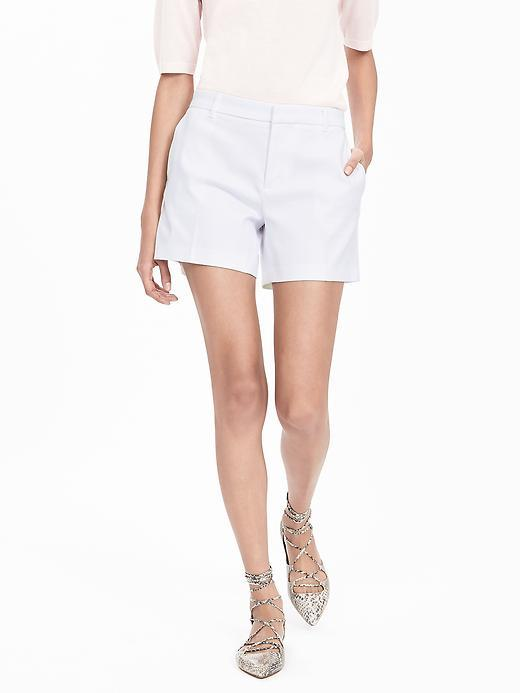 Solid Short White - pattern: plain; waist: mid/regular rise; predominant colour: white; occasions: casual, holiday, creative work; fibres: cotton - 100%; texture group: cotton feel fabrics; pattern type: fabric; season: s/s 2016; wardrobe: basic; style: shorts; length: mid thigh shorts; fit: slim leg