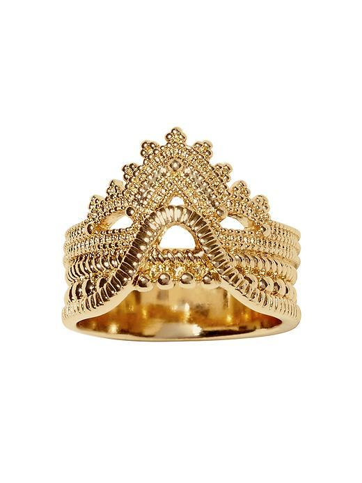 Lace Stack Band Ring Gold - predominant colour: gold; occasions: evening, occasion; style: cocktail; size: large/oversized; material: chain/metal; finish: metallic; season: s/s 2016; wardrobe: event