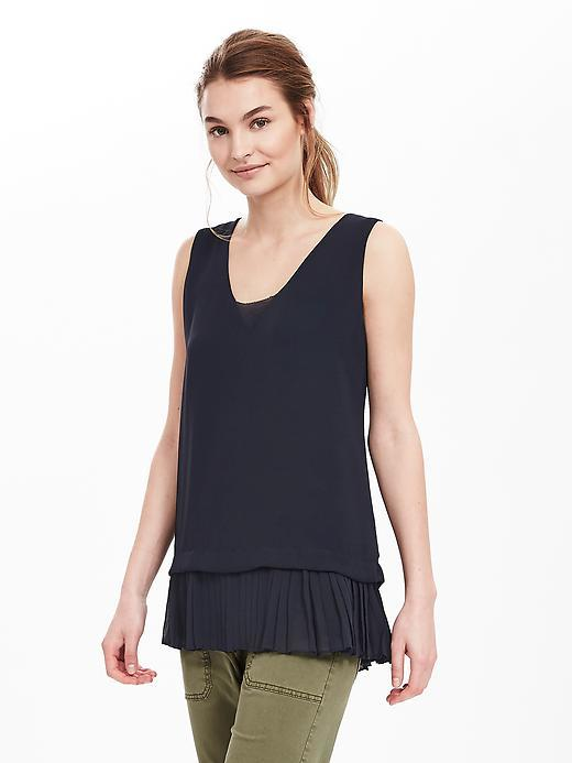 Pleat Hem Layered Tank Preppy Navy - neckline: v-neck; pattern: plain; sleeve style: sleeveless; length: below the bottom; style: vest top; predominant colour: navy; occasions: casual; fibres: polyester/polyamide - 100%; fit: body skimming; sleeve length: sleeveless; pattern type: fabric; texture group: other - light to midweight; season: s/s 2016