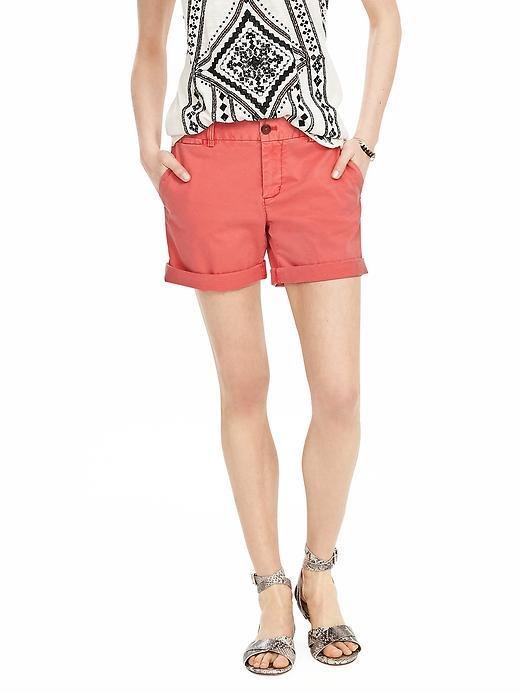 Chino Roll Up Short Fire Coral - pattern: plain; waist: mid/regular rise; predominant colour: coral; occasions: casual, holiday; fibres: cotton - stretch; texture group: cotton feel fabrics; pattern type: fabric; season: s/s 2016; style: shorts; length: short shorts; fit: slim leg; wardrobe: holiday