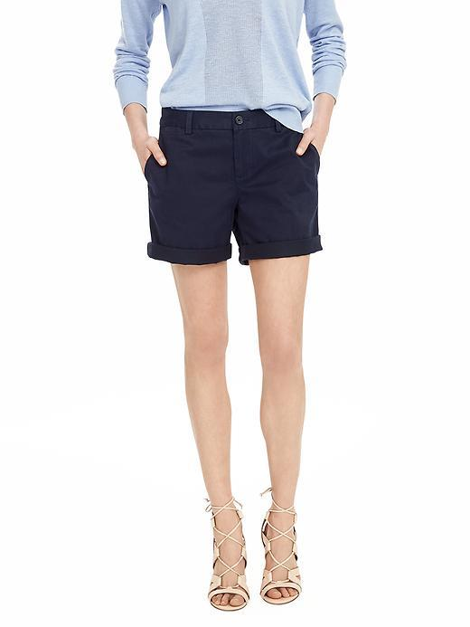 Chino Roll Up Short Preppy Navy - pattern: plain; waist: mid/regular rise; predominant colour: navy; occasions: casual, holiday; fibres: cotton - stretch; hip detail: fitted at hip (bottoms); texture group: cotton feel fabrics; pattern type: fabric; season: s/s 2016; style: tailored shorts; length: mid thigh shorts; fit: slim leg