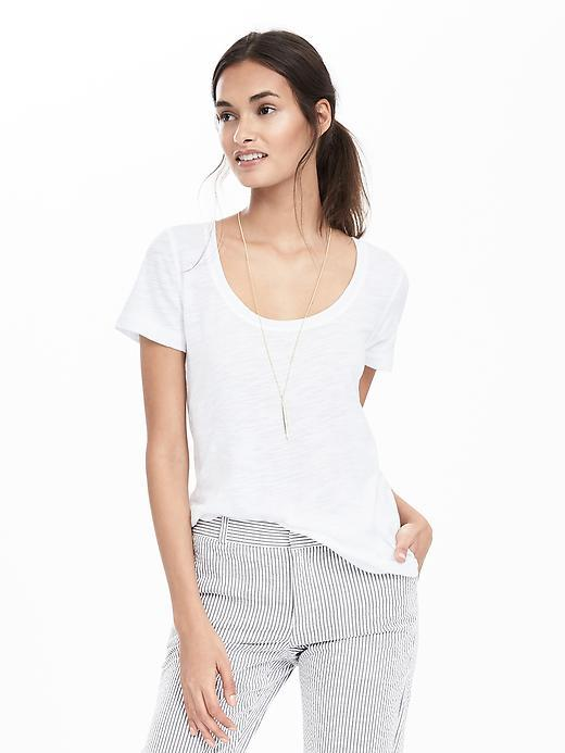 Slub Scoop Tee White - pattern: plain; style: t-shirt; predominant colour: white; occasions: casual; length: standard; neckline: scoop; fibres: cotton - mix; fit: body skimming; sleeve length: short sleeve; sleeve style: standard; pattern type: fabric; texture group: jersey - stretchy/drapey; season: s/s 2016; wardrobe: basic