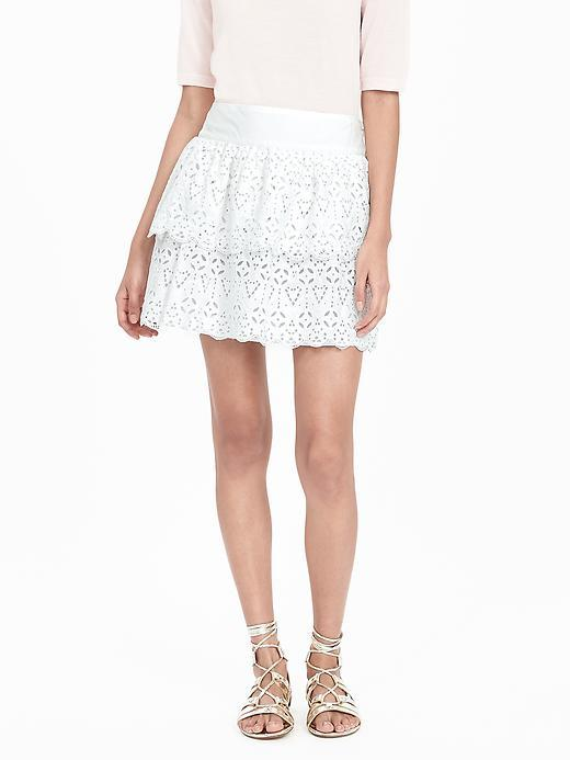 Tiered Lace Skirt White - length: mid thigh; pattern: plain; style: full/prom skirt; fit: loose/voluminous; waist: high rise; predominant colour: white; occasions: casual, holiday; fibres: cotton - 100%; hip detail: ruffles/tiers/tie detail at hip; pattern type: fabric; texture group: jersey - stretchy/drapey; season: s/s 2016; wardrobe: basic