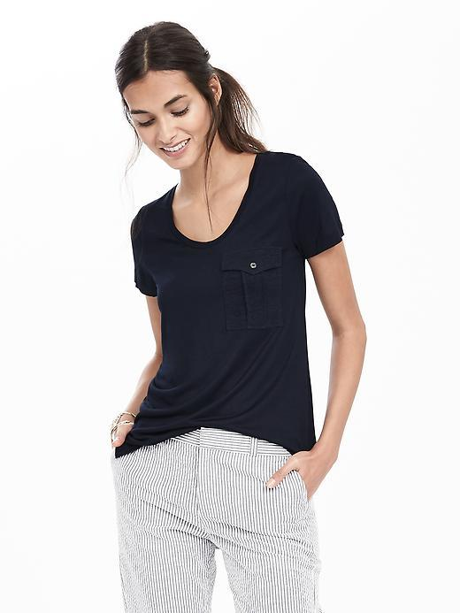 Button Pocket Tee Preppy Navy - neckline: round neck; pattern: plain; style: t-shirt; predominant colour: navy; occasions: casual; length: standard; fibres: viscose/rayon - 100%; fit: body skimming; sleeve length: short sleeve; sleeve style: standard; pattern type: fabric; texture group: jersey - stretchy/drapey; season: s/s 2016; wardrobe: basic