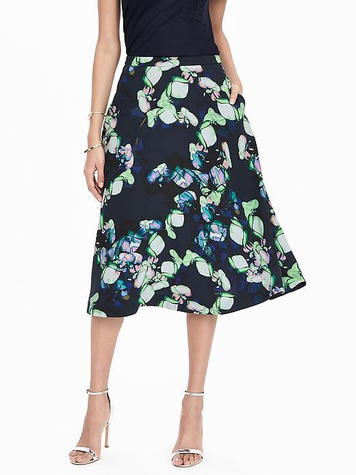 Bold Floral Midi Skirt Preppy Navy - length: below the knee; style: full/prom skirt; fit: loose/voluminous; waist: mid/regular rise; predominant colour: navy; secondary colour: pistachio; occasions: casual, evening; fibres: polyester/polyamide - 100%; pattern type: fabric; pattern: florals; texture group: other - light to midweight; multicoloured: multicoloured; season: s/s 2016