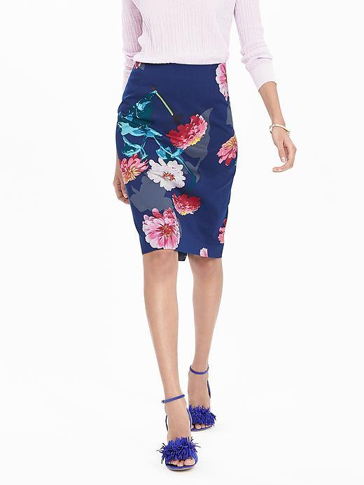Gerber Daisy Pencil Skirt Pink - style: pencil; fit: tailored/fitted; waist: mid/regular rise; secondary colour: true red; predominant colour: navy; occasions: evening; length: on the knee; fibres: cotton - stretch; texture group: cotton feel fabrics; pattern type: fabric; pattern: florals; pattern size: big & busy (bottom); multicoloured: multicoloured; season: s/s 2016; wardrobe: event