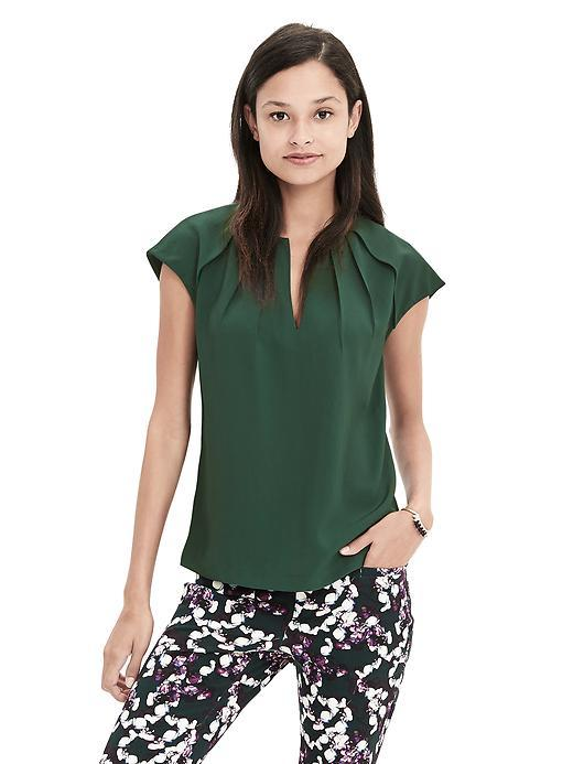 Pleated Crepe Blouse Deep Hunter - neckline: v-neck; sleeve style: capped; pattern: plain; style: blouse; predominant colour: dark green; occasions: evening; length: standard; fibres: viscose/rayon - 100%; fit: body skimming; sleeve length: short sleeve; texture group: crepes; pattern type: fabric; season: s/s 2016; wardrobe: event