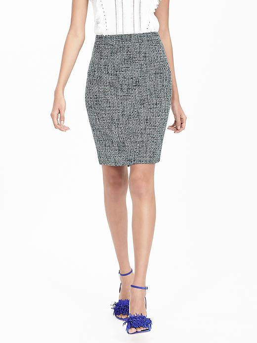 Navy Tweed Pencil Skirt Blue - pattern: plain; style: pencil; fit: tailored/fitted; waist: mid/regular rise; predominant colour: navy; occasions: evening; length: just above the knee; fibres: polyester/polyamide - 100%; pattern type: fabric; texture group: tweed - light/midweight; season: s/s 2016