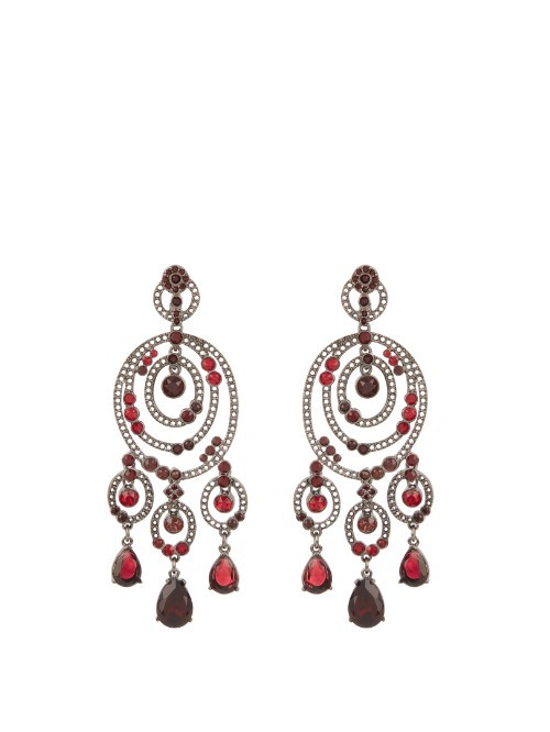 Loop Crystal Embellished Earrings - predominant colour: true red; occasions: evening, occasion; style: chandelier; length: long; size: large/oversized; material: chain/metal; fastening: pierced; finish: plain; embellishment: beading; multicoloured: multicoloured; season: s/s 2016; wardrobe: event