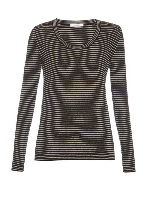 Otello Top - neckline: round neck; pattern: horizontal stripes; style: t-shirt; predominant colour: mid grey; secondary colour: black; occasions: casual; length: standard; fibres: cotton - mix; fit: body skimming; sleeve length: long sleeve; sleeve style: standard; texture group: knits/crochet; pattern type: knitted - fine stitch; pattern size: standard; season: s/s 2016