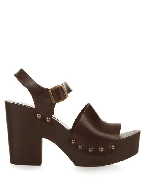 Curzio Sandals - predominant colour: chocolate brown; occasions: casual, holiday; material: leather; embellishment: studs; heel: block; toe: open toe/peeptoe; style: strappy; finish: plain; pattern: plain; heel height: very high; shoe detail: platform; season: s/s 2016; wardrobe: highlight