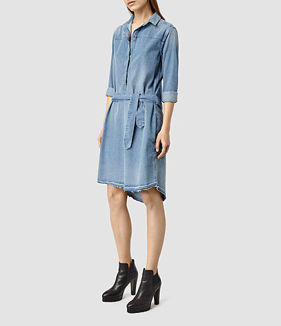 Mia Denim Dress - style: shirt; neckline: shirt collar/peter pan/zip with opening; pattern: plain; waist detail: belted waist/tie at waist/drawstring; predominant colour: denim; occasions: casual, creative work; length: on the knee; fit: body skimming; fibres: cotton - 100%; sleeve length: long sleeve; sleeve style: standard; texture group: denim; pattern type: fabric; season: s/s 2016; wardrobe: basic