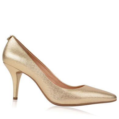 Flex Heels - predominant colour: gold; occasions: evening, occasion; material: faux leather; heel height: high; heel: stiletto; toe: pointed toe; style: courts; finish: metallic; pattern: plain; season: s/s 2016; wardrobe: event