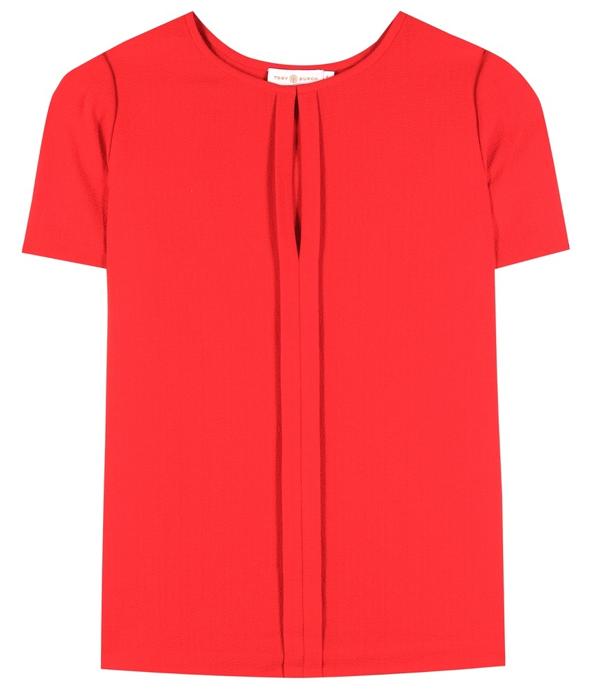 Textured Crêpe Blouse - pattern: plain; style: blouse; predominant colour: true red; occasions: casual, creative work; length: standard; neckline: peep hole neckline; fibres: silk - mix; fit: straight cut; sleeve length: short sleeve; sleeve style: standard; texture group: crepes; pattern type: fabric; season: s/s 2016