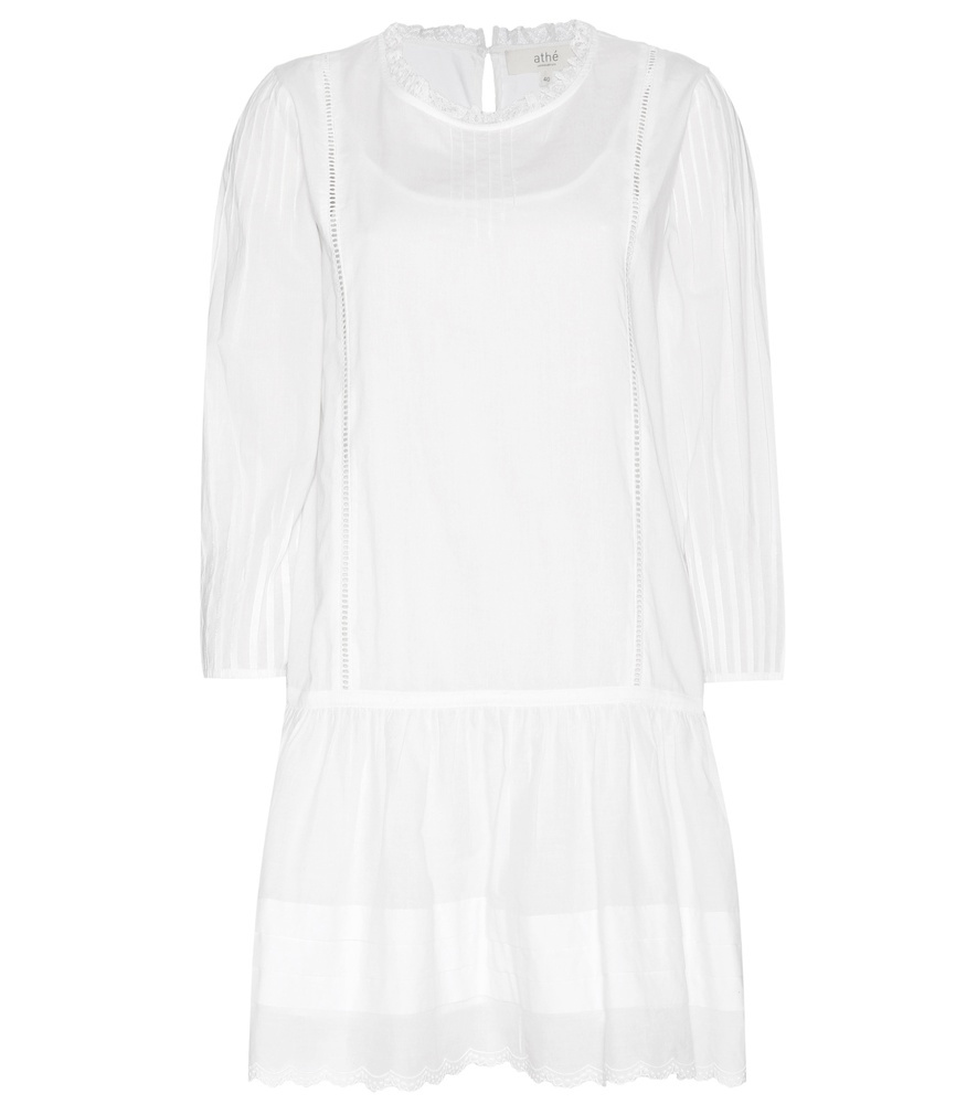 Cotton Dress - style: shift; pattern: plain; predominant colour: white; occasions: casual; length: just above the knee; fit: body skimming; fibres: cotton - 100%; neckline: crew; sleeve length: 3/4 length; sleeve style: standard; texture group: cotton feel fabrics; pattern type: fabric; season: s/s 2016; wardrobe: basic