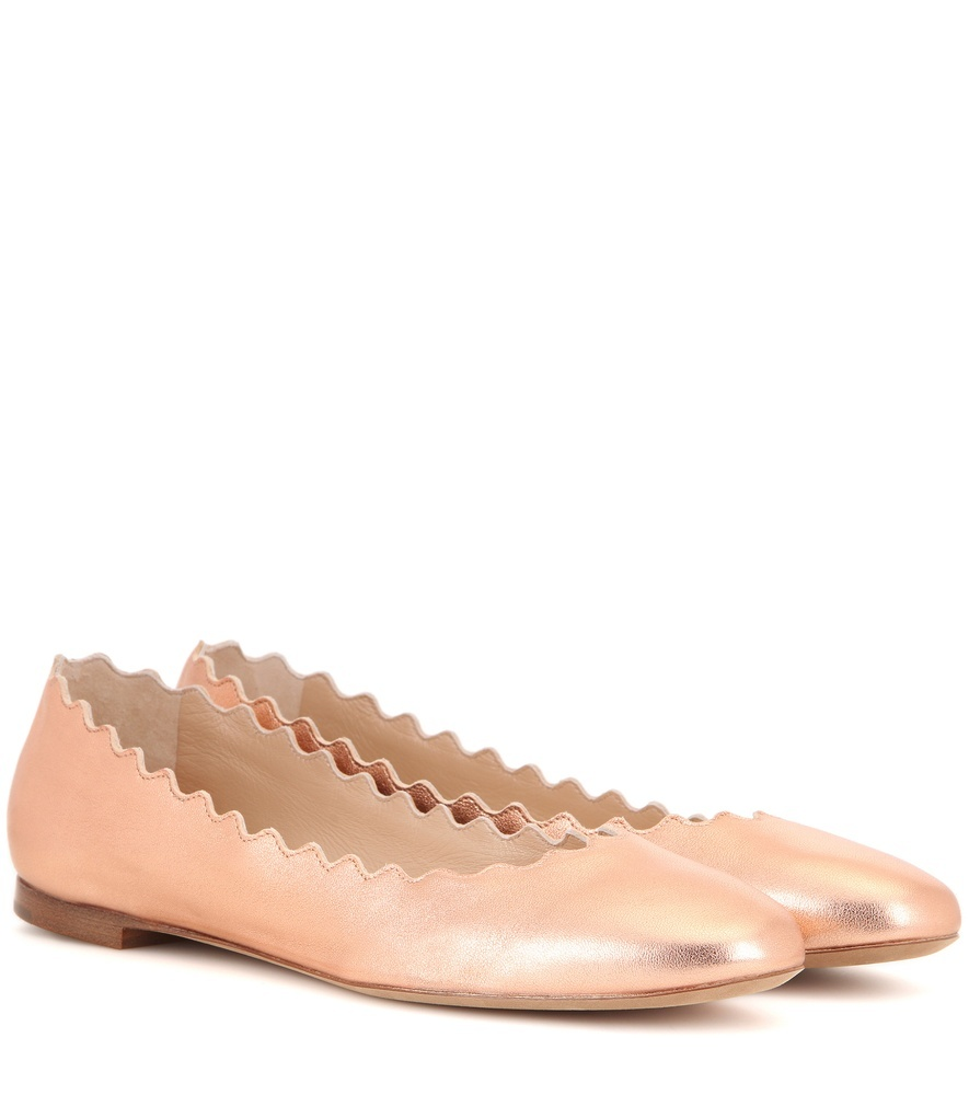 Lauren Metallic Leather Ballerinas - predominant colour: gold; occasions: casual, creative work; material: leather; heel height: flat; toe: round toe; style: ballerinas / pumps; finish: metallic; pattern: plain; season: s/s 2016