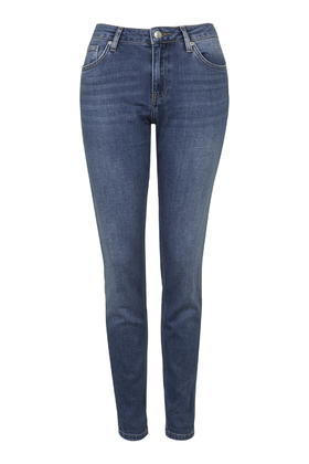 Moto Blue Lucas Boyfriend Jeans - style: boyfriend; length: standard; pattern: plain; waist: high rise; pocket detail: traditional 5 pocket; predominant colour: denim; occasions: casual; fibres: cotton - stretch; jeans detail: whiskering; texture group: denim; pattern type: fabric; season: s/s 2016; wardrobe: basic